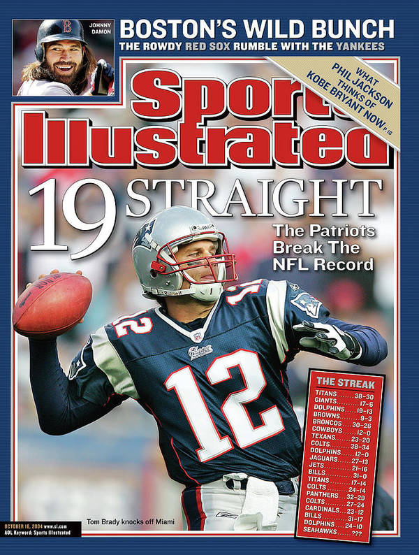 Magazine Cover Art Print featuring the photograph 19 Straight The Patriots Break The Nfl Record Sports Illustrated Cover by Sports Illustrated