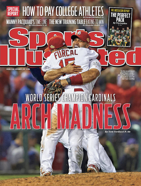 Magazine Cover Art Print featuring the photograph 2011 World Series Game 7 - Texas Rangers V St Louis Sports Illustrated Cover by Sports Illustrated