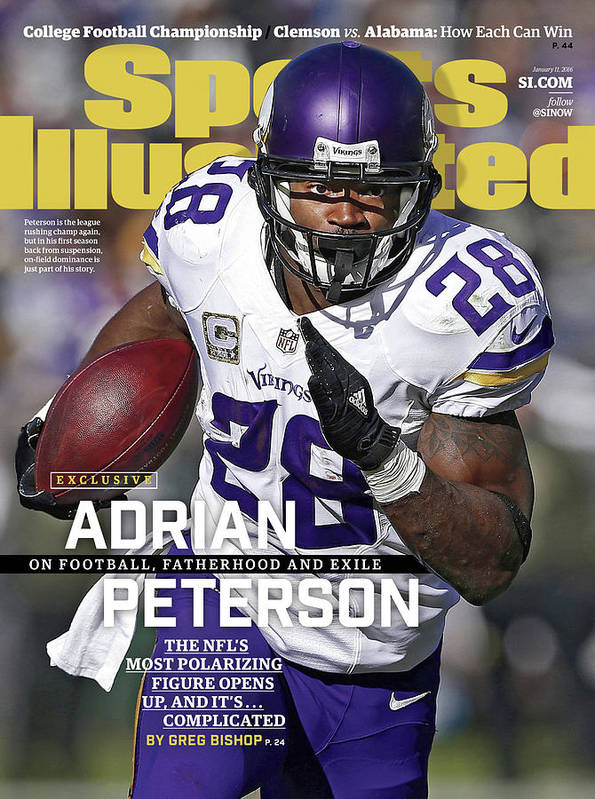 Magazine Cover Art Print featuring the photograph Adrian Peterson Exclusive On Football. Fatherhood And Exile Sports Illustrated Cover by Sports Illustrated