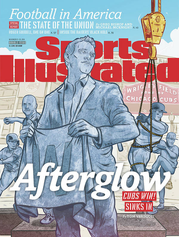 Magazine Cover Art Print featuring the photograph Afterglow Cubs Win Sinks In Sports Illustrated Cover by Sports Illustrated