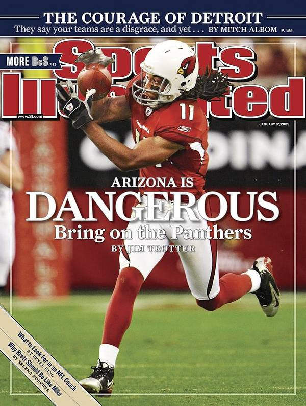 Larry Fitzgerald Art Print featuring the photograph Arizona Cardinals Larry Fitzgerald, 2009 Nfc Wild Card Sports Illustrated Cover by Sports Illustrated