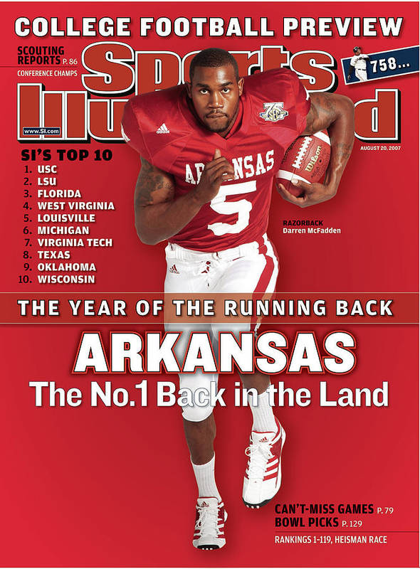 Magazine Cover Art Print featuring the photograph Arkansas Darren Mcfadden, 2007 College Football Preview Sports Illustrated Cover by Sports Illustrated