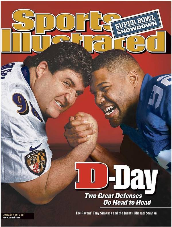Wrestling Art Print featuring the photograph Baltimore Ravens Tony Siragusa And New York Giants Michael Sports Illustrated Cover by Sports Illustrated