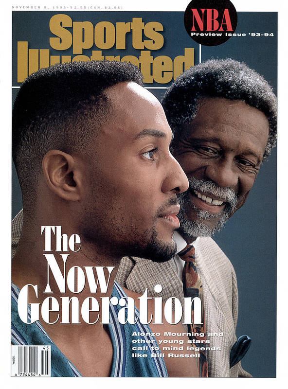 Magazine Cover Art Print featuring the photograph Bill Russell And Charlotte Hornets Alonzo Mourning, 1993 Sports Illustrated Cover by Sports Illustrated