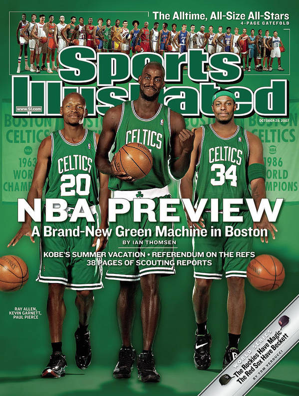Nba Pro Basketball Art Print featuring the photograph Boston Celtics Kevin Garnett, Ray Allen, And Paul Pierce Sports Illustrated Cover by Sports Illustrated