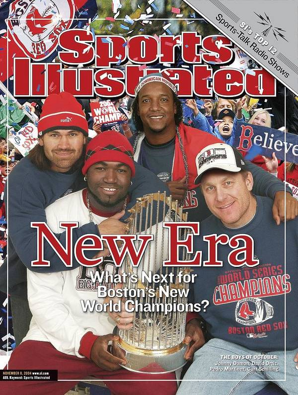 American League Baseball Art Print featuring the photograph Boston Red Sox Johnny Damon, David Ortiz, Pedro Martinez Sports Illustrated Cover by Sports Illustrated