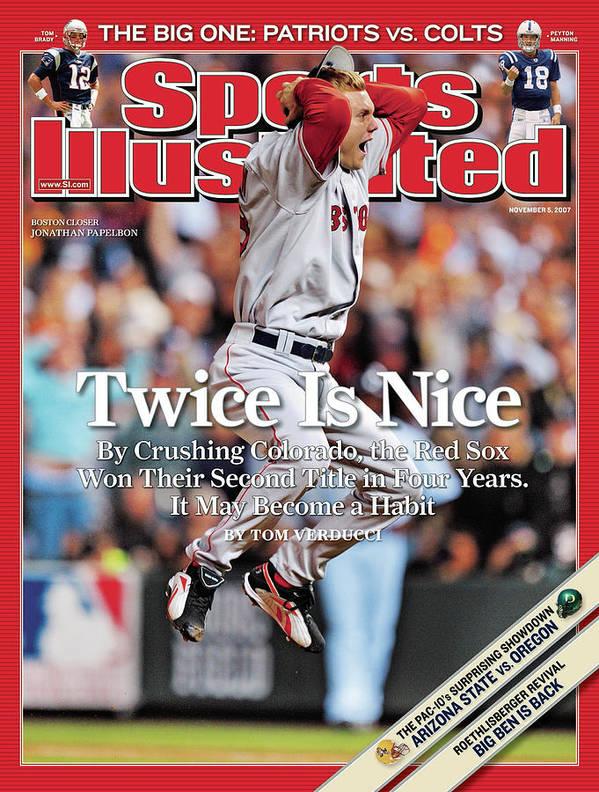 Magazine Cover Art Print featuring the photograph Boston Red Sox Jonathan Papelbon, 2007 World Series Sports Illustrated Cover by Sports Illustrated