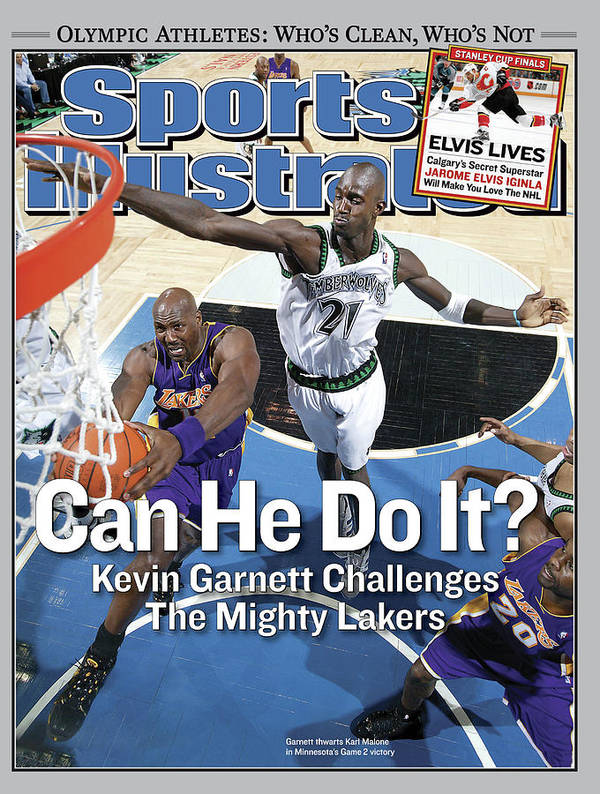 Magazine Cover Art Print featuring the photograph Can He Do It Kevin Garnett Challenges The Mighty Lakers Sports Illustrated Cover by Sports Illustrated