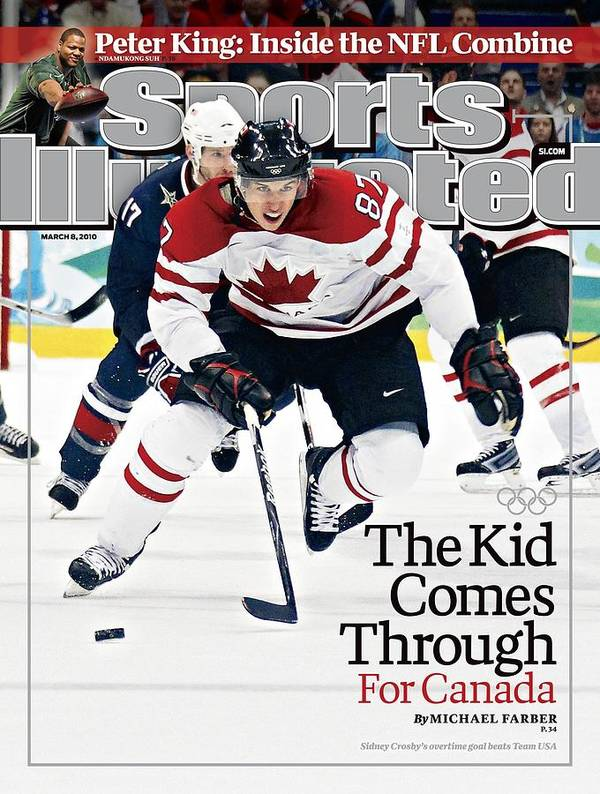 The Olympic Games Art Print featuring the photograph Canada Sidney Crosby, 2010 Winter Olympics Sports Illustrated Cover by Sports Illustrated