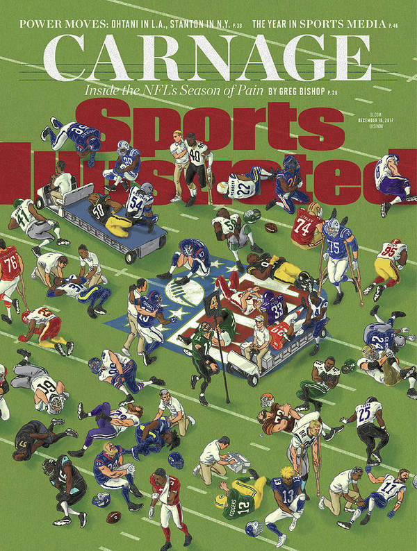 Magazine Cover Art Print featuring the photograph Carnage Inside The Nfls Season Of Pain Sports Illustrated Cover by Sports Illustrated