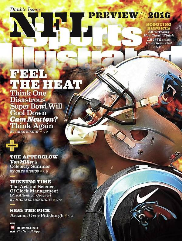 Magazine Cover Art Print featuring the photograph Carolina Panthers Cam Newton, 2016 Nfl Football Preview Sports Illustrated Cover by Sports Illustrated