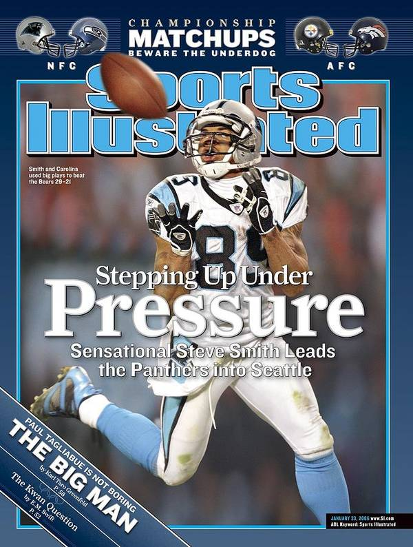 Playoffs Art Print featuring the photograph Carolina Panthers Steve Smith, 2006 Nfc Divisional Playoffs Sports Illustrated Cover by Sports Illustrated
