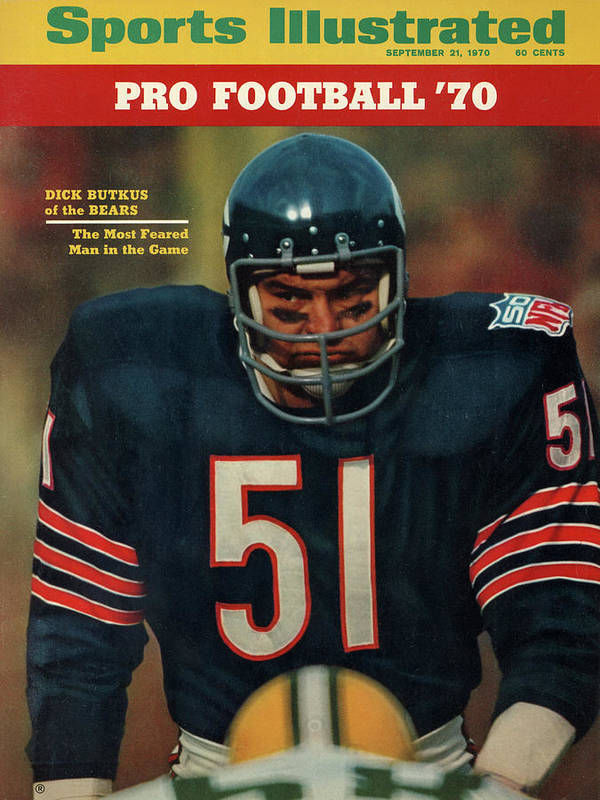 American Football Art Print featuring the photograph Chicago Bears Dick Butkus, 1970 Nfl Football Preview Issue Sports Illustrated Cover by Sports Illustrated