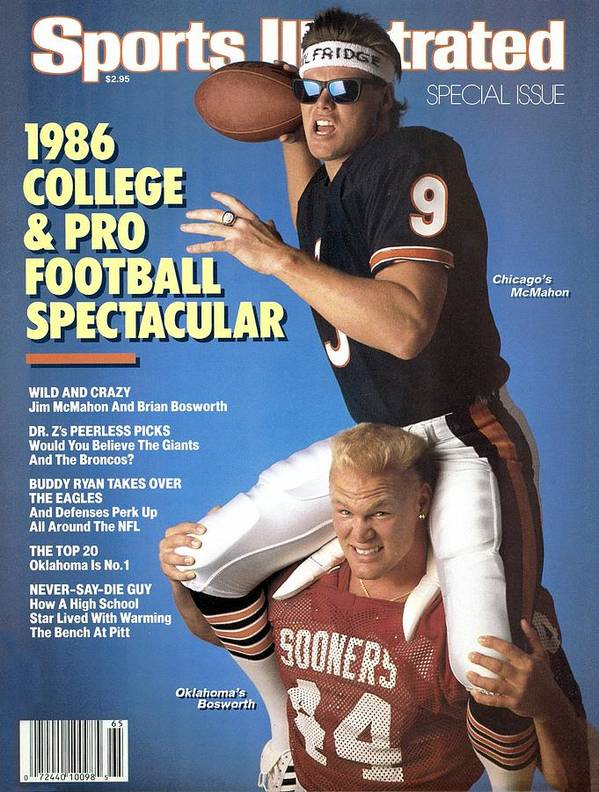1980-1989 Art Print featuring the photograph Chicago Bears Qb Jim Mcmahon And Oklahoma University Brian Sports Illustrated Cover by Sports Illustrated