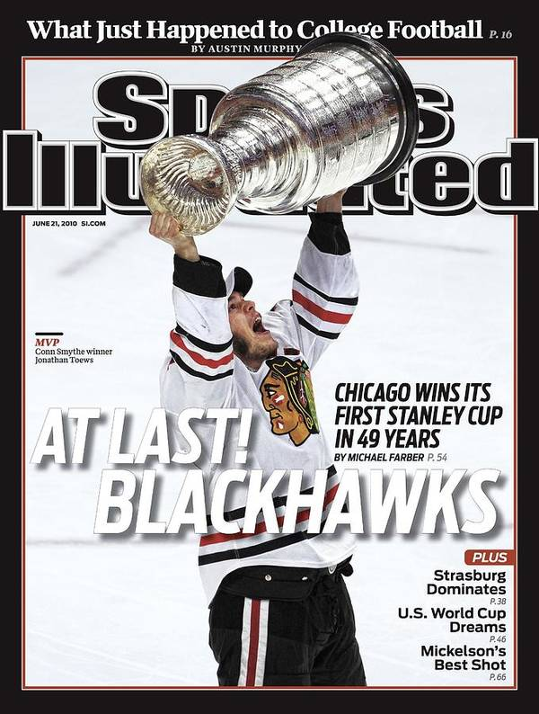 Magazine Cover Art Print featuring the photograph Chicago Blackhawks Jonathan Toews, 2010 Nhl Stanley Cup Sports Illustrated Cover by Sports Illustrated