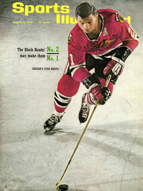 People Art Print featuring the photograph Chicago Blackhawks Stan Mikita... Sports Illustrated Cover by Sports Illustrated