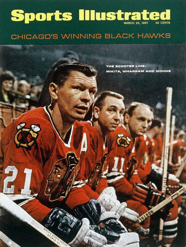 National Hockey League Art Print featuring the photograph Chicago Blackhawks Stan Mikita, Kenny Wharram, And Doug Sports Illustrated Cover by Sports Illustrated