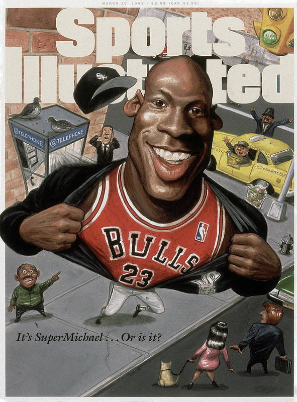 Chicago Bulls Art Print featuring the photograph Chicago Bulls Michael Jordan Its Supermichael . . . Or Is It Sports Illustrated Cover by Sports Illustrated
