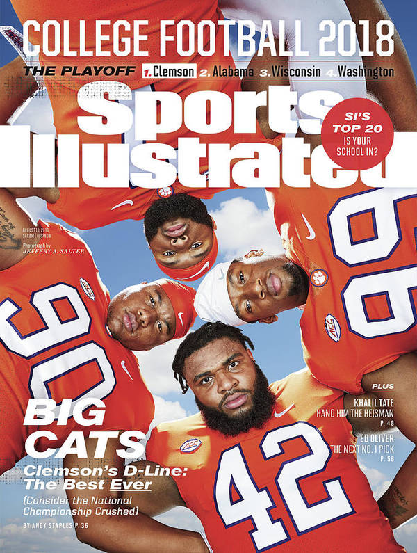 Season Art Print featuring the photograph Clemson University Defensive Line, 2018 College Football Sports Illustrated Cover by Sports Illustrated