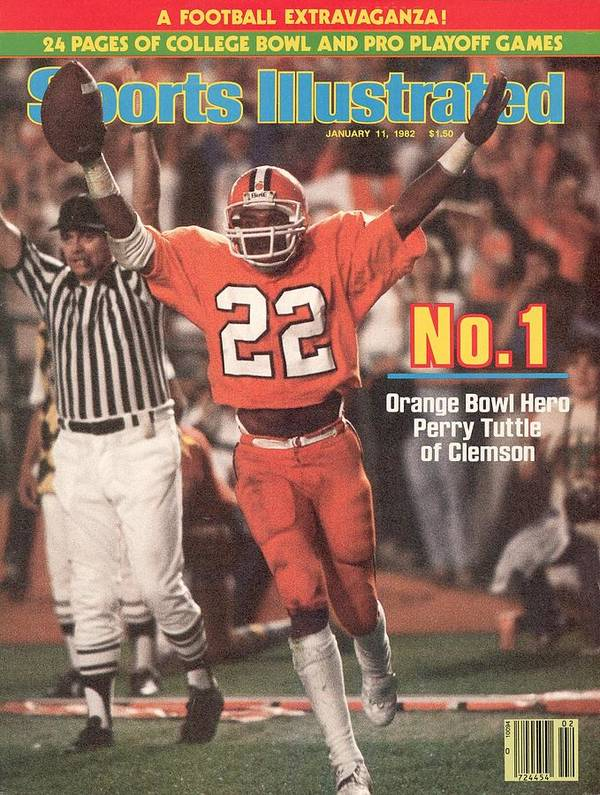 1980-1989 Art Print featuring the photograph Clemson University Perry Tuttle, 1982 Orange Bowl Sports Illustrated Cover by Sports Illustrated