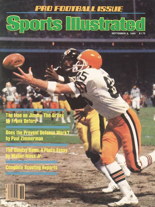Catching Art Print featuring the photograph Cleveland Browns Dave Logan And Pittsburgh Steelers Mel Sports Illustrated Cover by Sports Illustrated