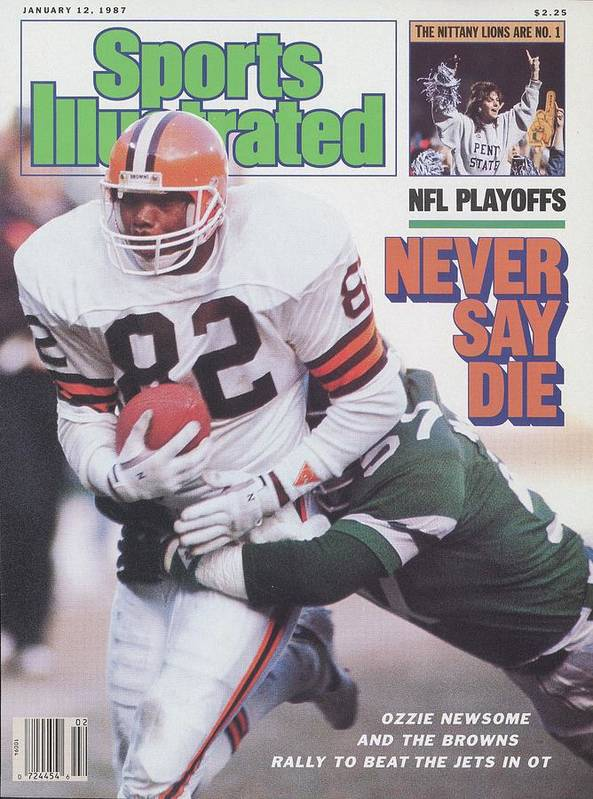 Playoffs Art Print featuring the photograph Cleveland Browns Ozzie Newsome, 1987 Afc Divisional Playoffs Sports Illustrated Cover by Sports Illustrated