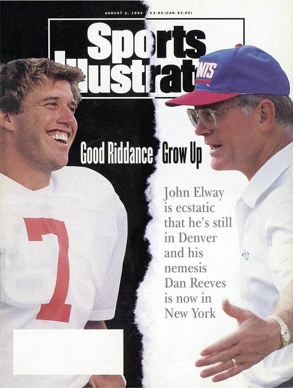 Magazine Cover Art Print featuring the photograph Denver Broncos Qb John Elway And New York Giants Coach Dan Sports Illustrated Cover by Sports Illustrated