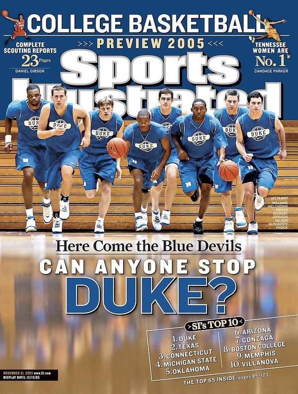 North Carolina Art Print featuring the photograph Duke University Basketball Team Sports Illustrated Cover by Sports Illustrated