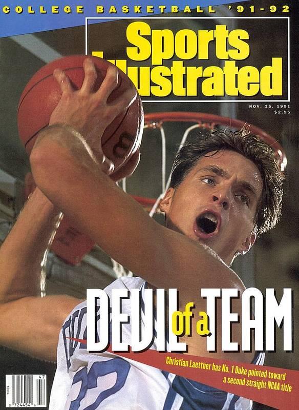 Magazine Cover Art Print featuring the photograph Duke University Christian Laettner Sports Illustrated Cover by Sports Illustrated