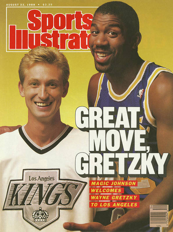Magazine Cover Art Print featuring the photograph Great Move, Gretzky Magic Johnson Welcomes Wayne Gretzky To Sports Illustrated Cover by Sports Illustrated
