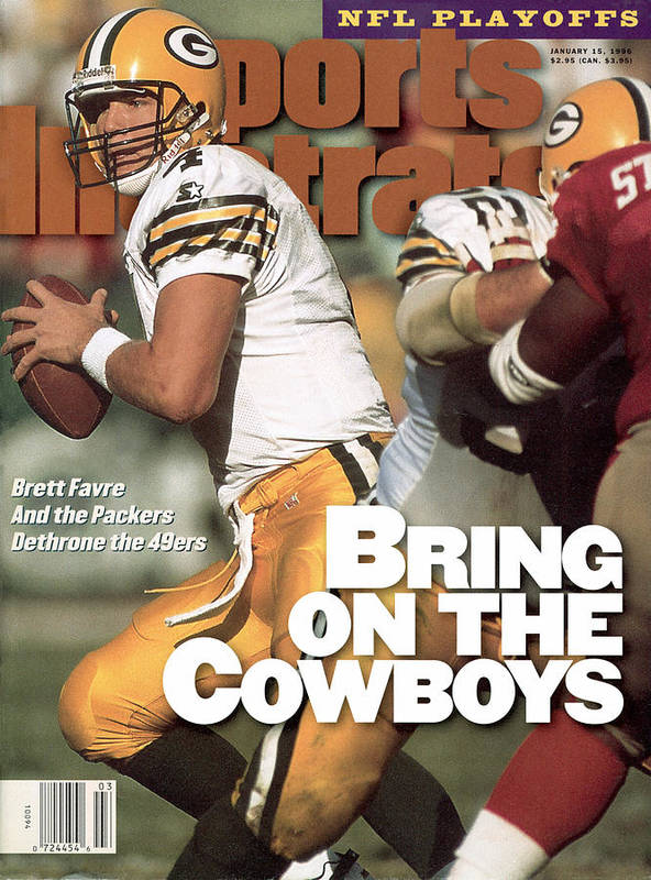 Candlestick Park Art Print featuring the photograph Green Bay Packers Qb Brett Favre, 1996 Nfc Divisional Sports Illustrated Cover by Sports Illustrated