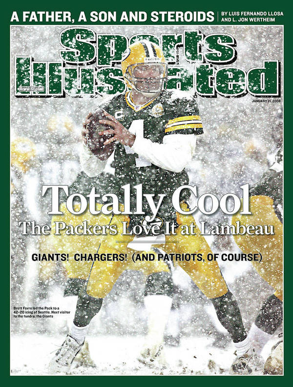 Playoffs Art Print featuring the photograph Green Bay Packers Qb Brett Favre, 2008 Nfc Divisional Sports Illustrated Cover by Sports Illustrated