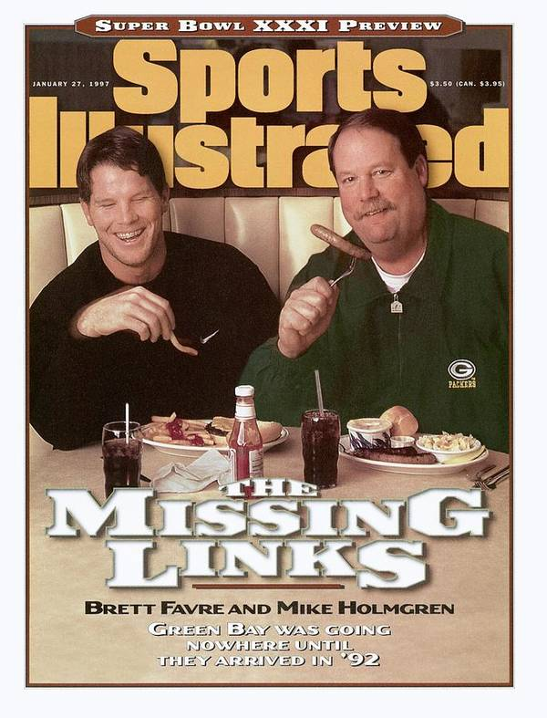 Green Bay Art Print featuring the photograph Green Bay Packers Qb Brett Favre And Coach Mike Holmgren Sports Illustrated Cover by Sports Illustrated