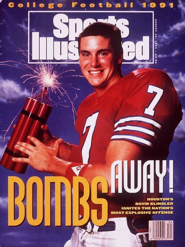 Magazine Cover Art Print featuring the photograph Houston Qb David Klingler, 1991 College Football Preview Sports Illustrated Cover by Sports Illustrated