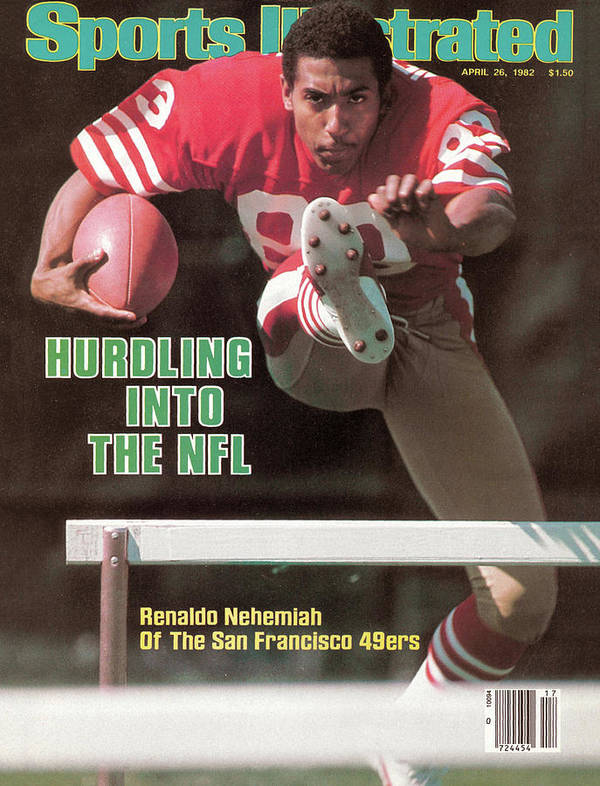 Candlestick Park Art Print featuring the photograph Hurdling Into The Nfl Renaldo Nehemiah Of The San Francisco Sports Illustrated Cover by Sports Illustrated