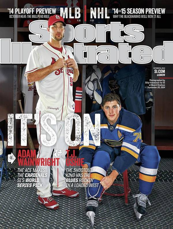 St. Louis Cardinals Art Print featuring the photograph Its On Adam Wainwright And T.j. Oshie Sports Illustrated Cover by Sports Illustrated