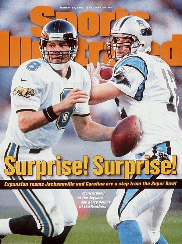 Magazine Cover Art Print featuring the photograph Jacksonville Jaguars Qb Mark Brunell And Carolina Panthers Sports Illustrated Cover by Sports Illustrated