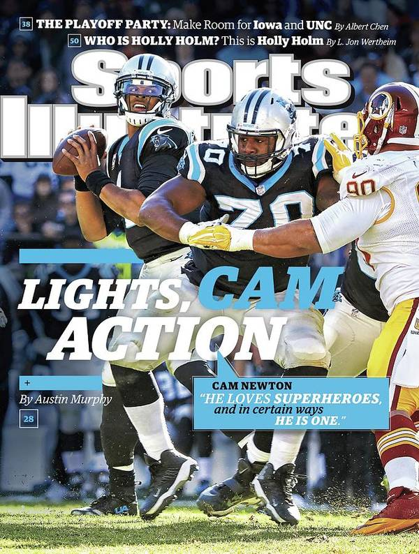 Magazine Cover Art Print featuring the photograph Lights, Cam Action Cam Newton Sports Illustrated Cover by Sports Illustrated