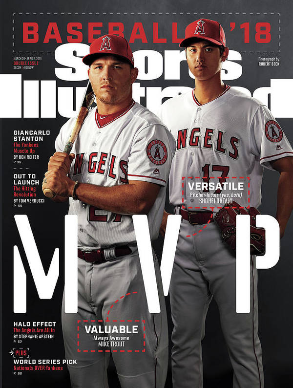Tempe Diablo Stadium Art Print featuring the photograph Los Angeles Angels Of Anaheim Mike Trout And Shohei Ohtani Sports Illustrated Cover by Sports Illustrated