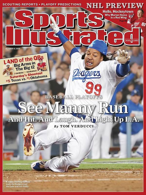 Magazine Cover Art Print featuring the photograph Los Angeles Dodgers Manny Ramirez, 2008 Nl Division Series Sports Illustrated Cover by Sports Illustrated