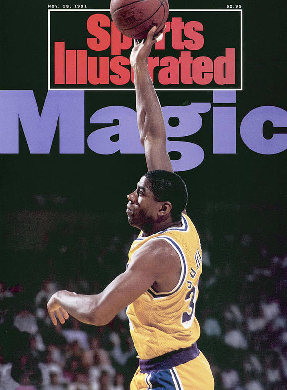 Playoffs Art Print featuring the photograph Los Angeles Lakers Magic Johnson, 1990 Nba Western Sports Illustrated Cover by Sports Illustrated