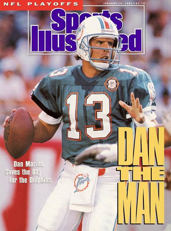 Playoffs Art Print featuring the photograph Miami Dolphins Qb Dan Marino, 1991 Afc Wild Card Playoffs Sports Illustrated Cover by Sports Illustrated