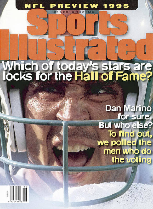 Magazine Cover Art Print featuring the photograph Miami Dolphins Qb Dan Marino, 1995 Nfl Football Preview Sports Illustrated Cover by Sports Illustrated