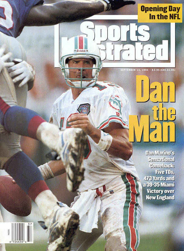 New England Patriots Art Print featuring the photograph Miami Dolphins Qb Dan Marino... Sports Illustrated Cover by Sports Illustrated