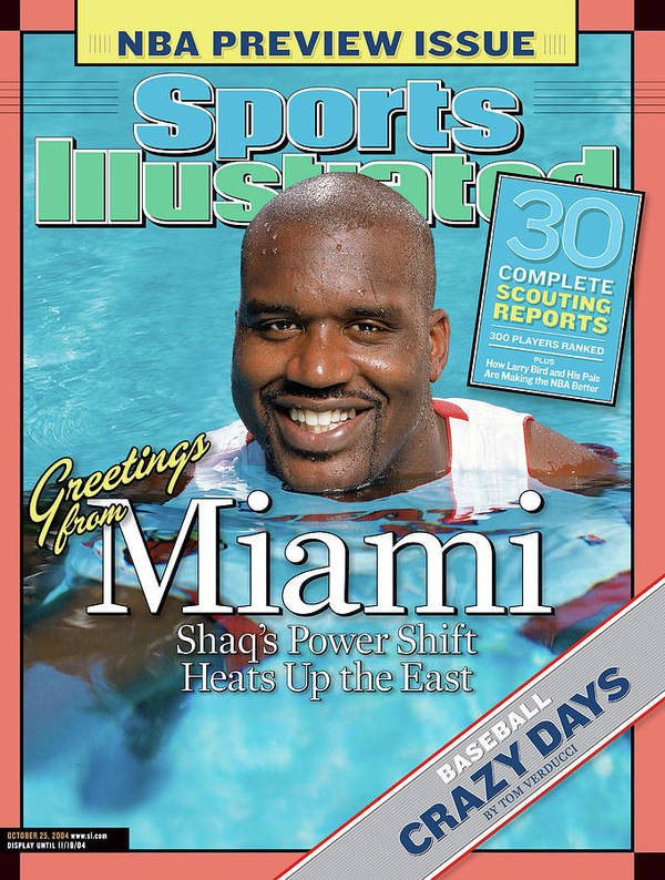 Magazine Cover Art Print featuring the photograph Miami Heat Shaquille Oneal, 2004-05 Nba Basketball Preview Sports Illustrated Cover by Sports Illustrated