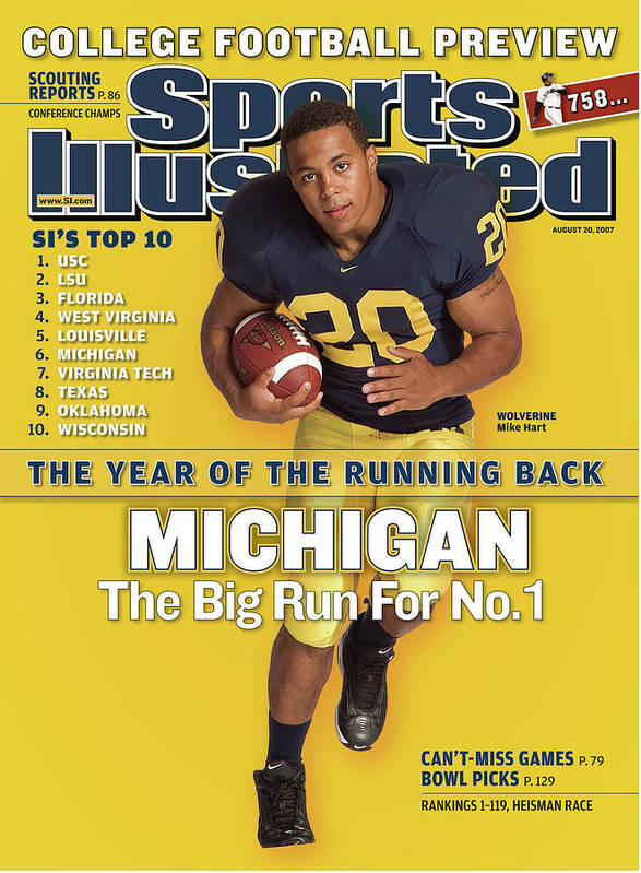 Michigan Art Print featuring the photograph Michigan Mike Hart, 2007 College Football Preview Sports Illustrated Cover by Sports Illustrated