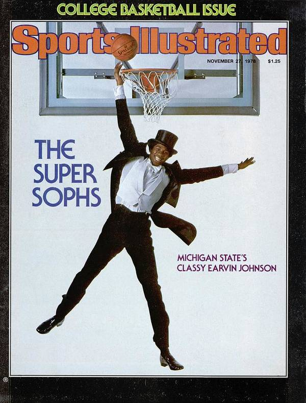 Magazine Cover Art Print featuring the photograph Michigan State Magic Johnson, 1978 College Basketball Sports Illustrated Cover by Sports Illustrated