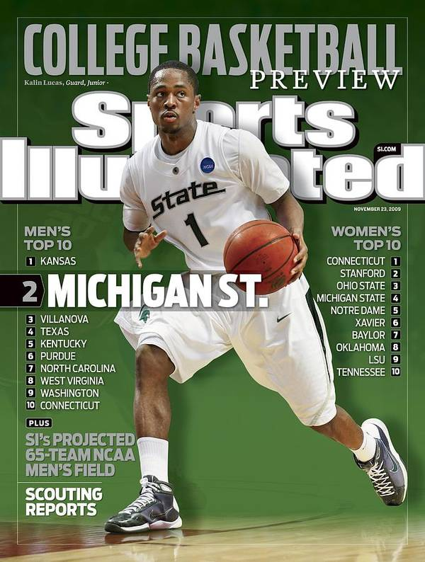 Hubert H. Humphrey Metrodome Art Print featuring the photograph Michigan State University Kalin Lucas, 2009 Ncaa Midwest Sports Illustrated Cover by Sports Illustrated