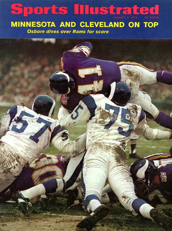 Playoffs Art Print featuring the photograph Minnesota Vikings Dave Osborn, 1969 Nfl Conference Sports Illustrated Cover by Sports Illustrated