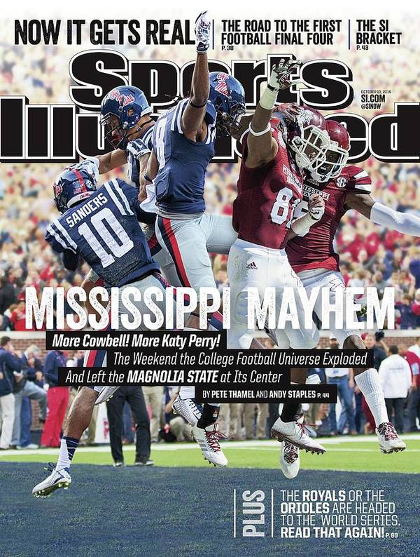 Magazine Cover Art Print featuring the photograph Mississippi Mayhem The Weekend The College Football Sports Illustrated Cover by Sports Illustrated